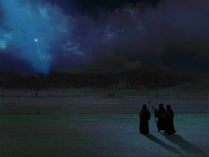 Shepherds seeking Jesus and following the light of the star
