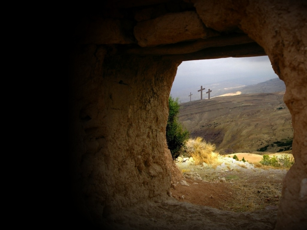 Seeing the cross from the empty tomb.  A reminder of both the death and resurrection of Christ.