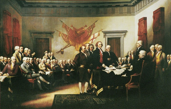 The famous painting of the signing of the Declaration of Independence