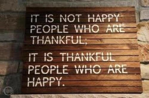 Being thankful - the key to happiness