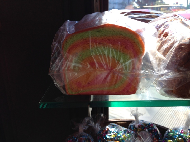 Rainbow bread for communion from King's Hawaiian in Torrance, CA