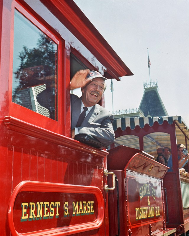 Walt Disney riding the train