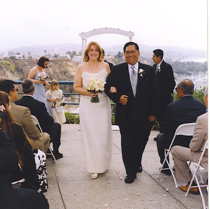 Our wedding day, friends and family bearing witness to our vows together