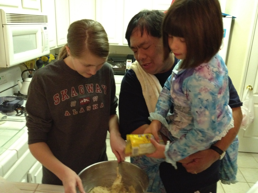 Cooking together in the kitchen on Christmas with Emma and Eve