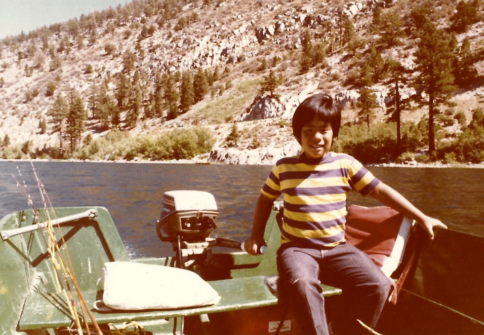 Another picture of me in the boat with our family on June Lake