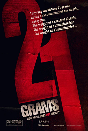 Movie poster for the movie 21 grams based on MacDougall's faulty concept