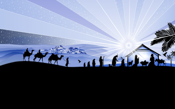 Traditional nativity scene with a bright star, three kings, and everything