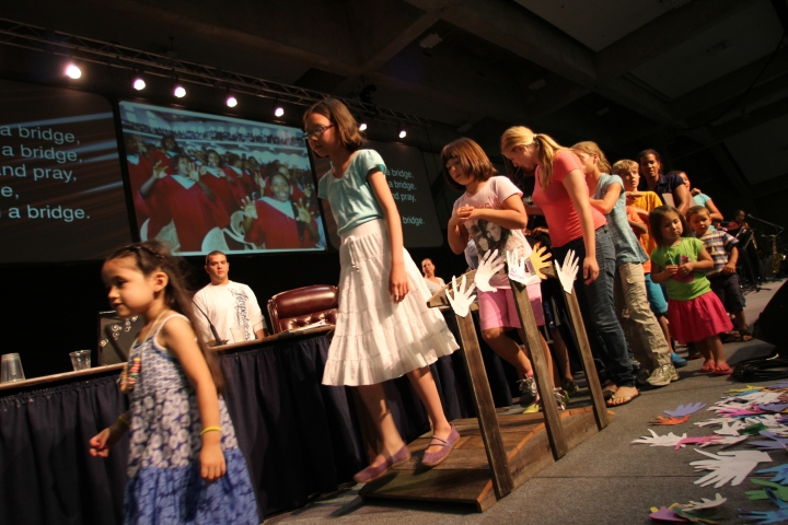 At our church's annual conference, the kids participating in the bridge of love