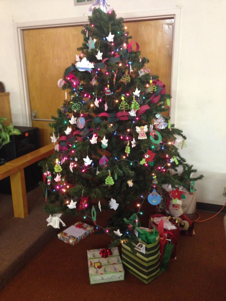 Our Christmas tree at Palm Church decorated by the kids and our congregants