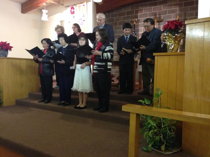 Choir singing at Christmas Eve