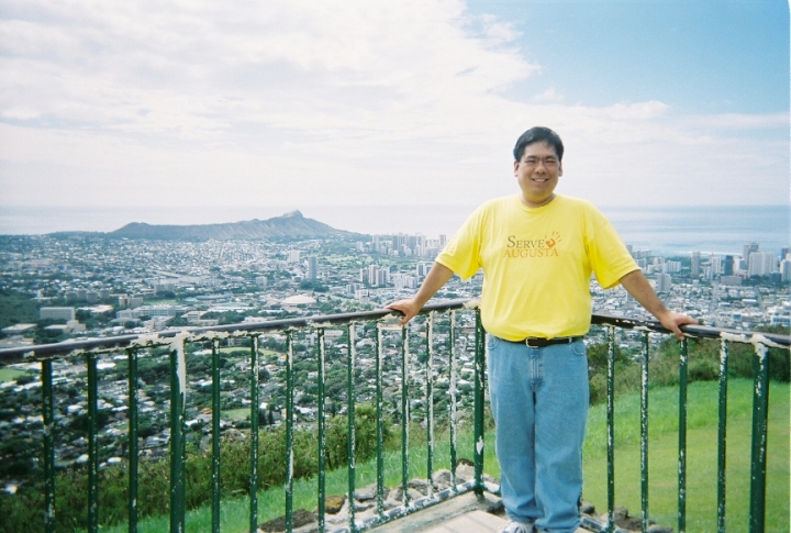 On the trip to Hawaii, but not wearing the shorts