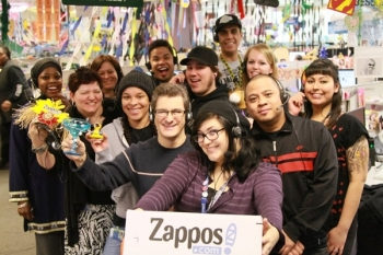 Zappos employees working together
