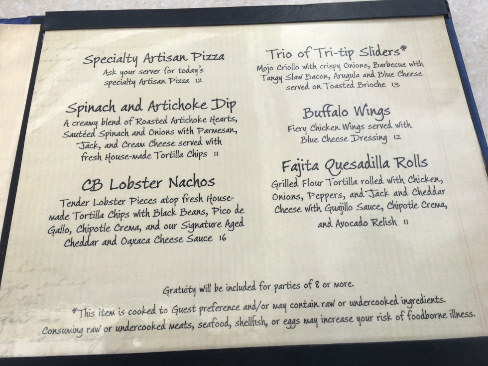 Cove Bar's mini menu sounds so yummy. Check out the description for Lobster Nachos. What else would you eat?