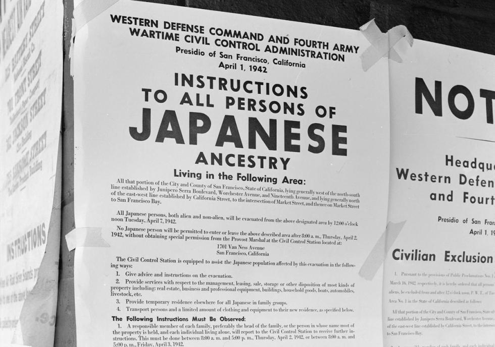 An image of the standard internment notice to all Japanese-Americans
