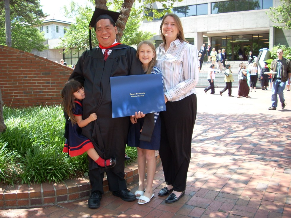 Graduating from seminary at Emory University's Candler School of Theology - could not have done it without the love of God shown through my family and friends