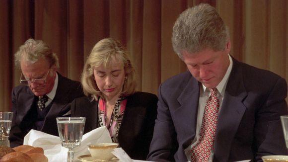 Rev. Billy Graham with at the time First Lady and President Bill Clinton