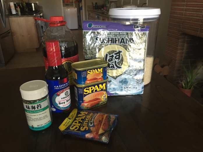 Ingredients needed for good Spam musubi