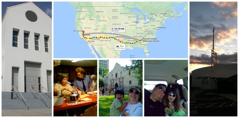 Our journey from Roswell UMC (left) to UJCC (right) included a visit to Cassie's relatives in Louisiana, a stop at the Alamo in Texas, and finally getting to CA while trying to hold Luke back in the car