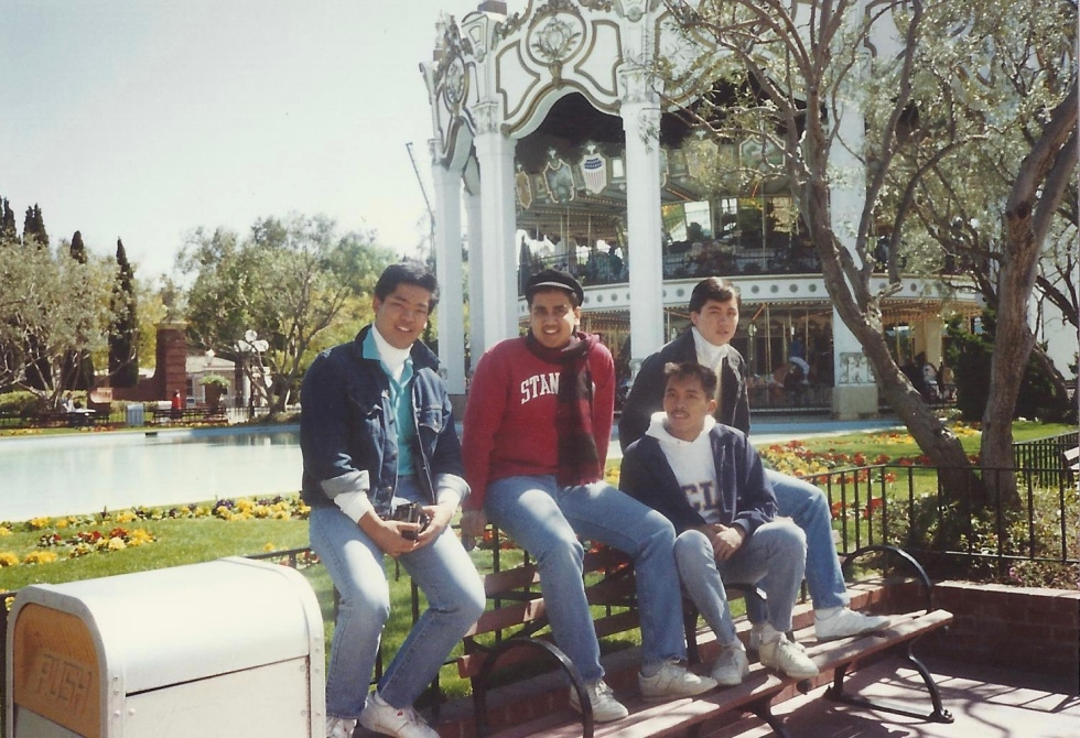Guys' Trip: Here we are at Great America. L to R Gene, Murali, Rich, and Lance back when we were much younger