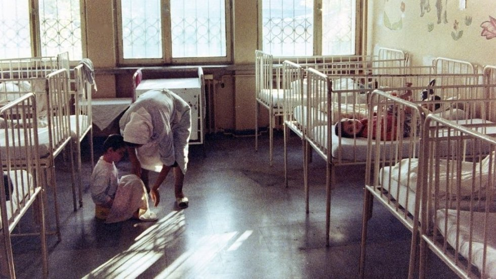 From the NPR story on Romanian orphans.  Original caption:  In the Institute for the Unsalvageable in Sighetu Marmatiei, Romania, shown here in 1992, children were left in cribs for days on end. - Tom Szalay