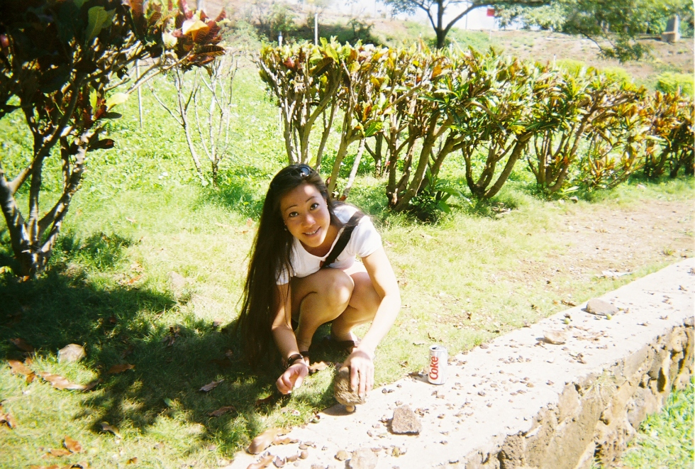 My friend Allison at the macadamia nut farm