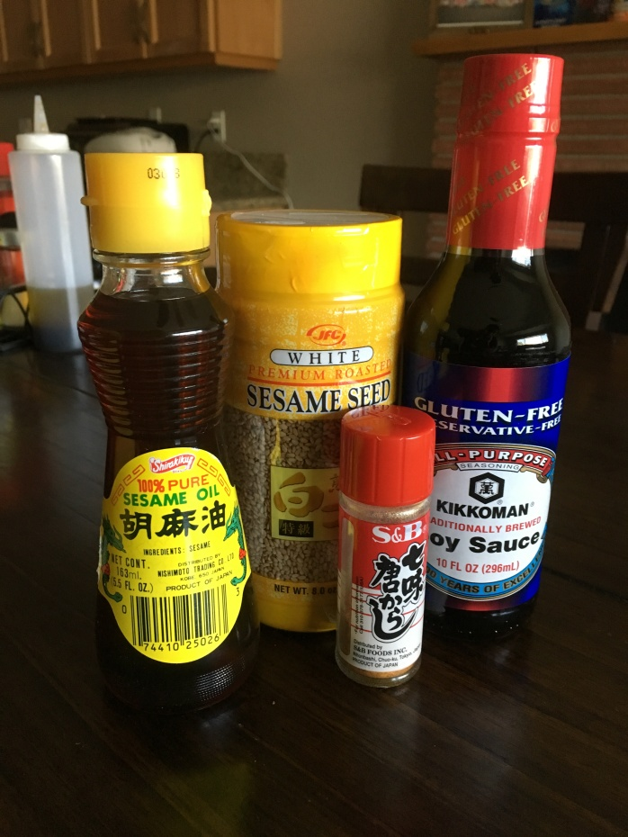 Most sesame seeds are standard so no need to be picky.  I love this brand of sesame oil, but you don't have to have it.  And of course this is my favorite soy sauce.  The togarashi is just a great addition.