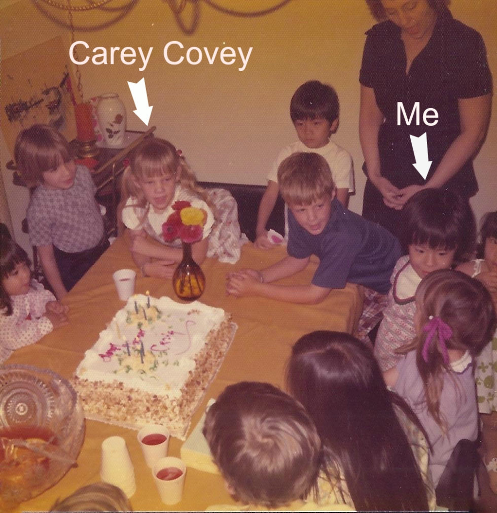 My first love: Carey Covey.  What was I trying to do? Make her jealous or something?  I think that's my friend Karleen I'm talking to in the picture