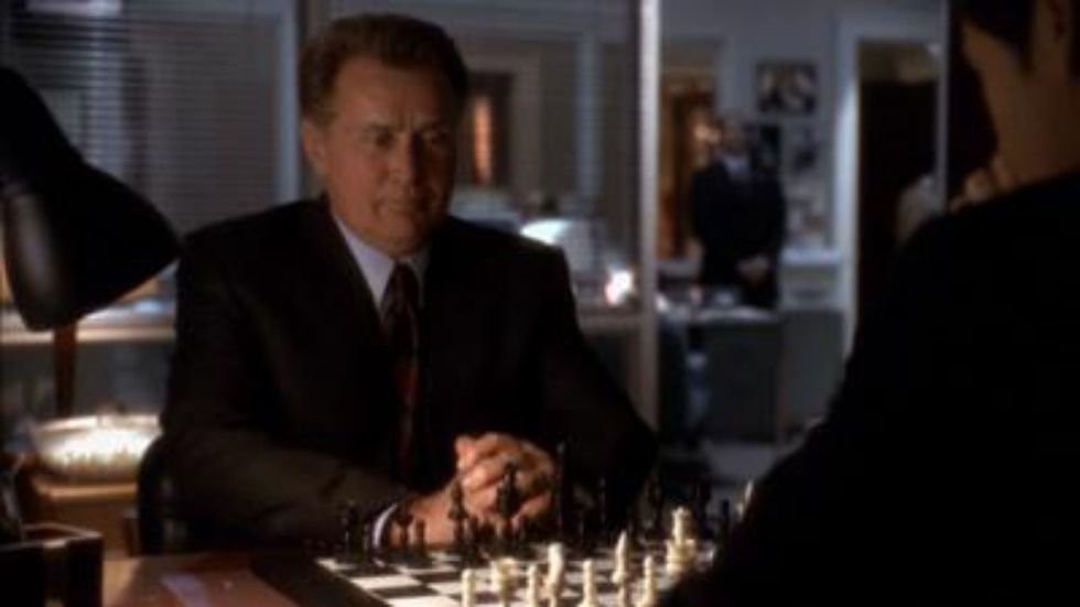 The President playing chess with Deputy Communications Director, Sam Seaborn