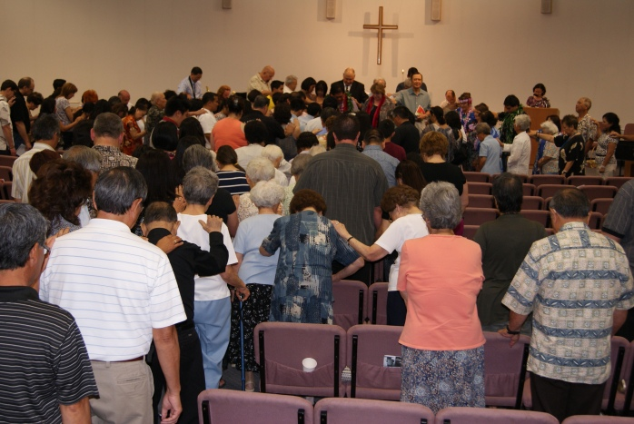 When we left UJCC our congregation said a prayer of blessing over our family. Very touching and powerful