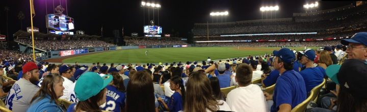 A normal crowd at Dodger Stadium enjoying the game - far from the violence that has occurred in both LA and SF over heated games