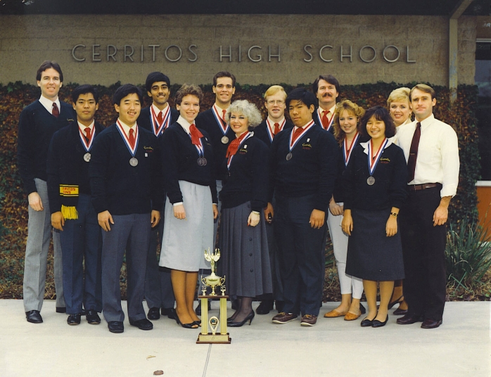 1985 - Academic Decathlon Team with Trophy