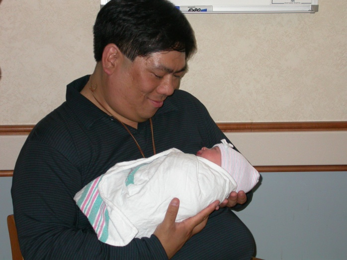 2004-04-07 - Holding Emma as a Baby Burrito