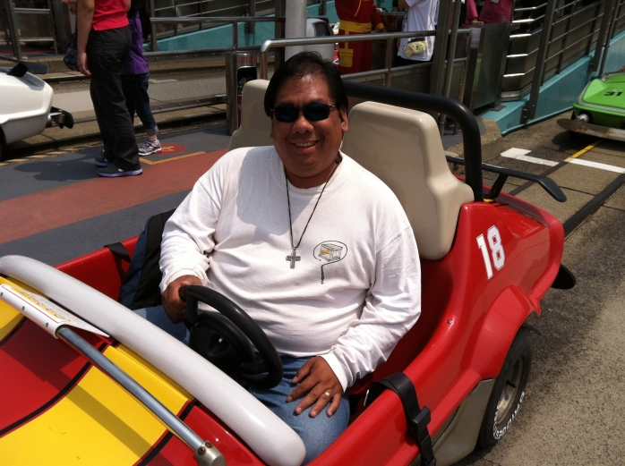 2012-05-08 - Me in my Mickey Mouse Speed Racer car
